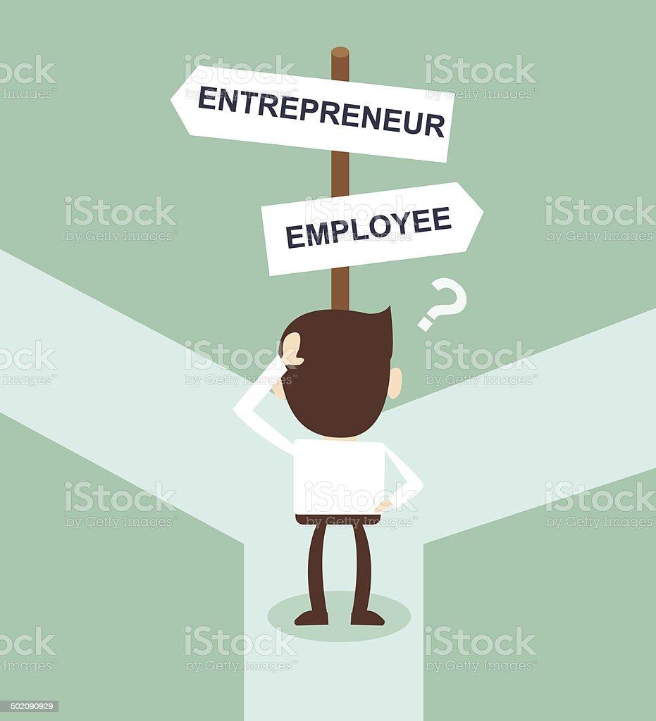 change career directions employee entrepreneur street direction sign vector art illustration
