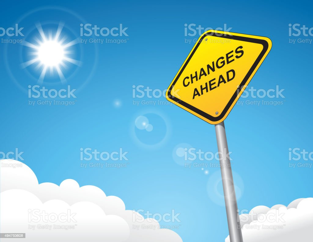 Changes ahead road sign vector art illustration