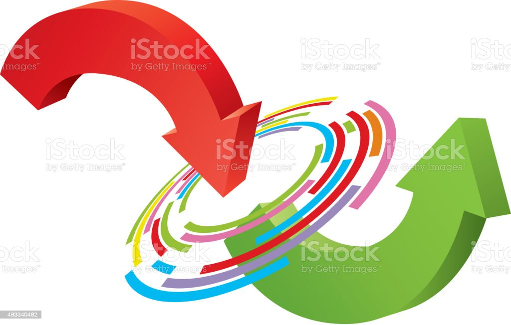 Changing arrow vector art illustration