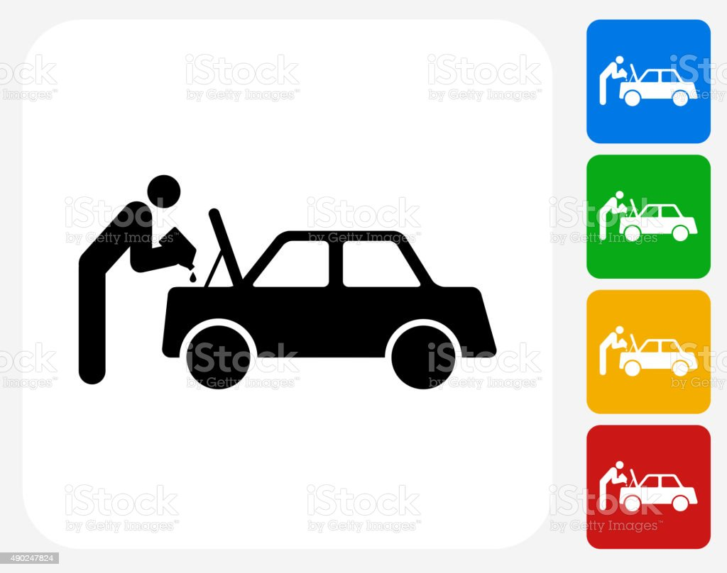 Changing Car Oil Icon Flat Graphic Design vector art illustration