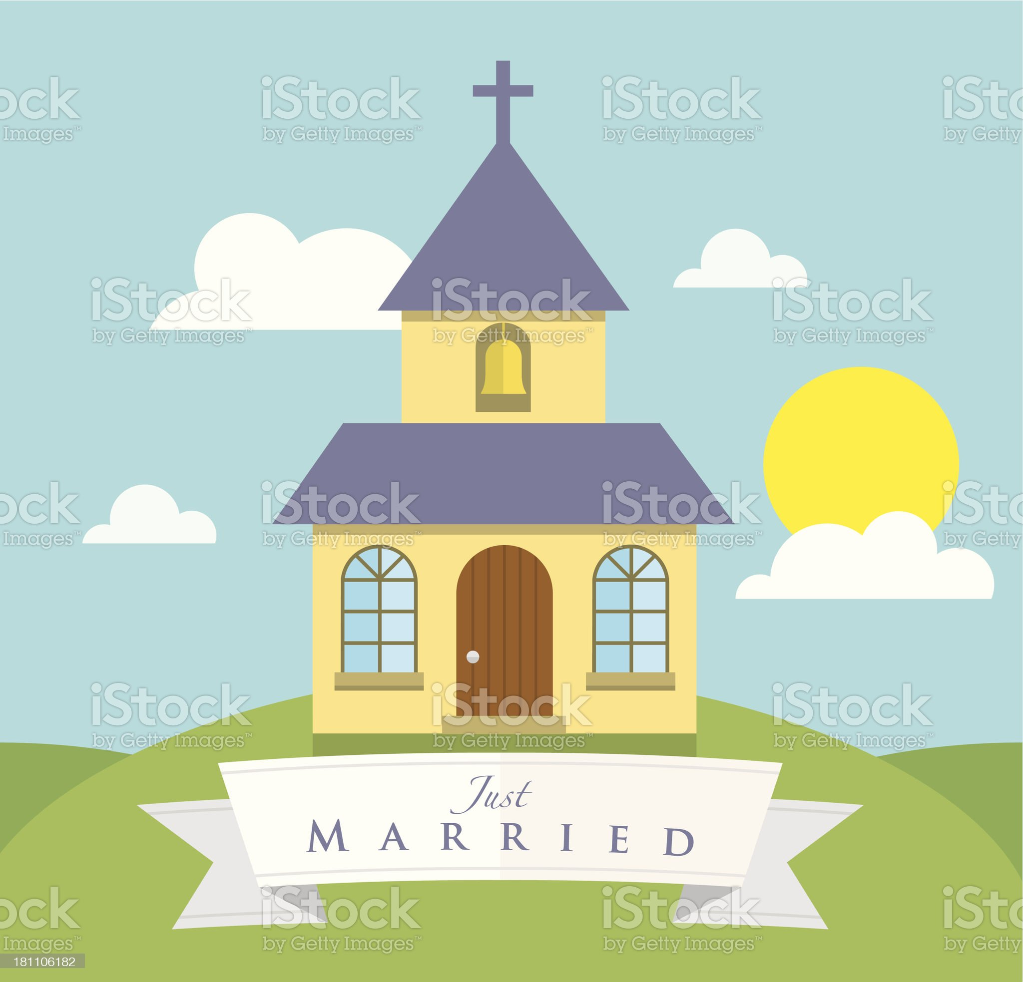 Chapel on the hill royalty-free stock vector art