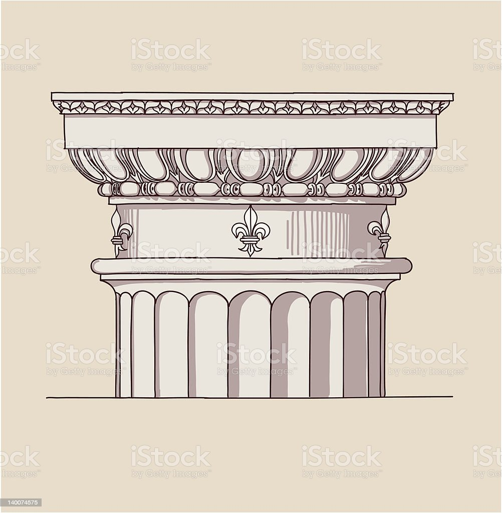 Chapiter - doric architectural order vector art illustration