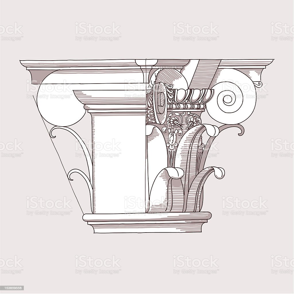 Chapiter - hand draw sketch royalty-free stock vector art