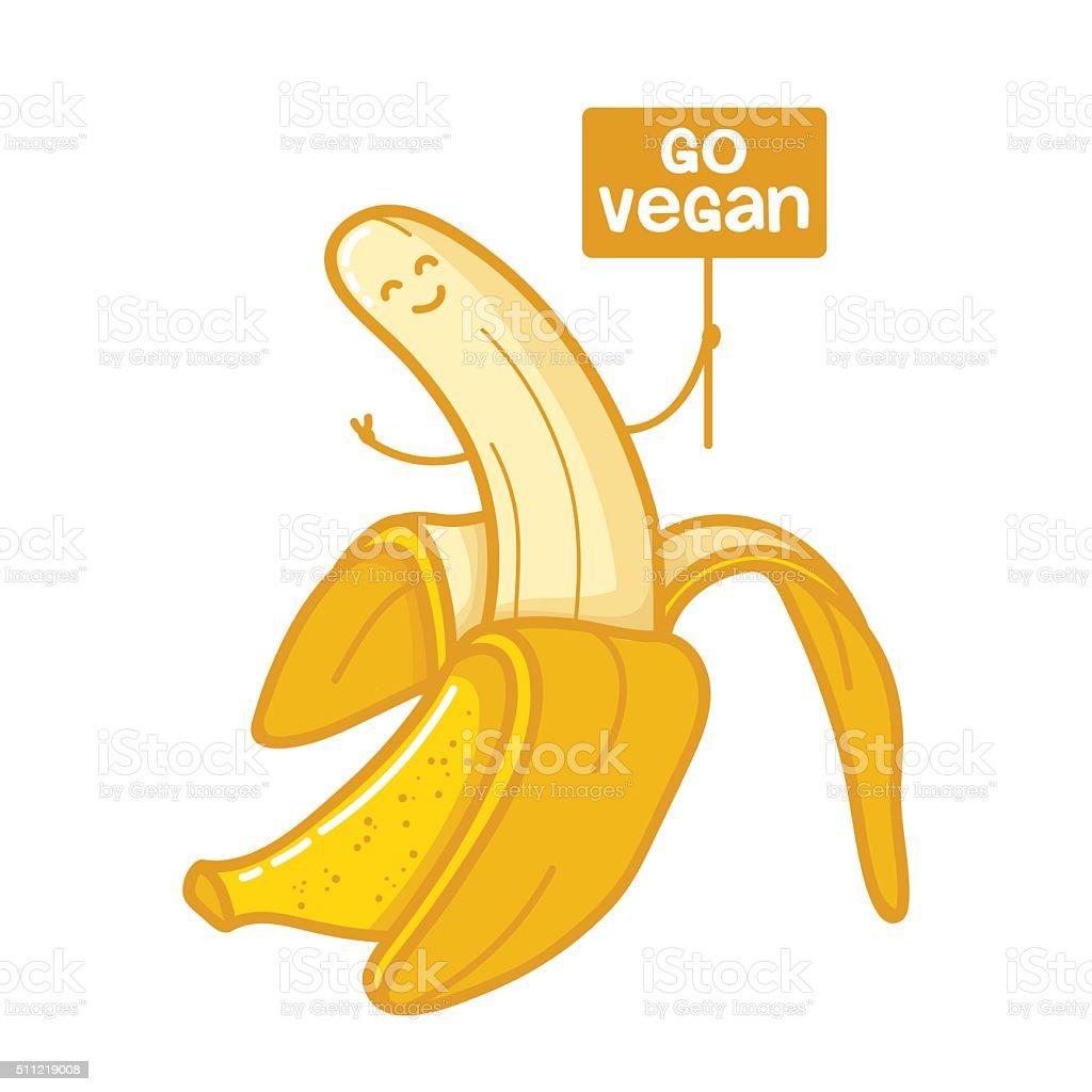 Character banana go vegan vector art illustration