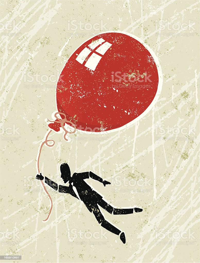 Character being compelled to fly away with red balloon royalty-free stock vector art