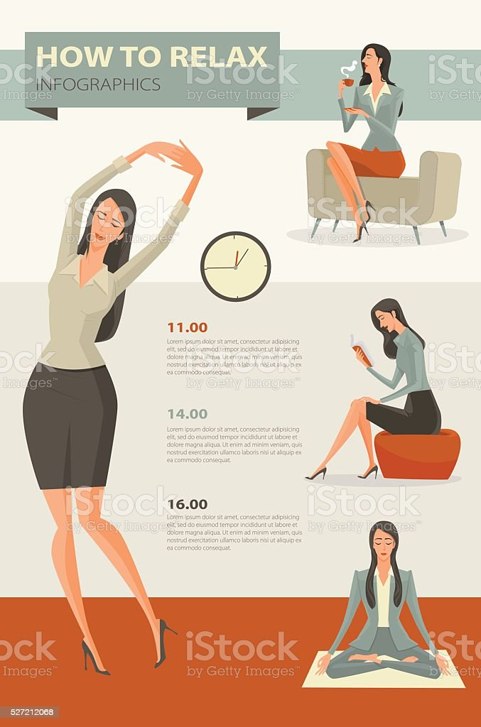 Character cartoon set of businesswoman. vector art illustration