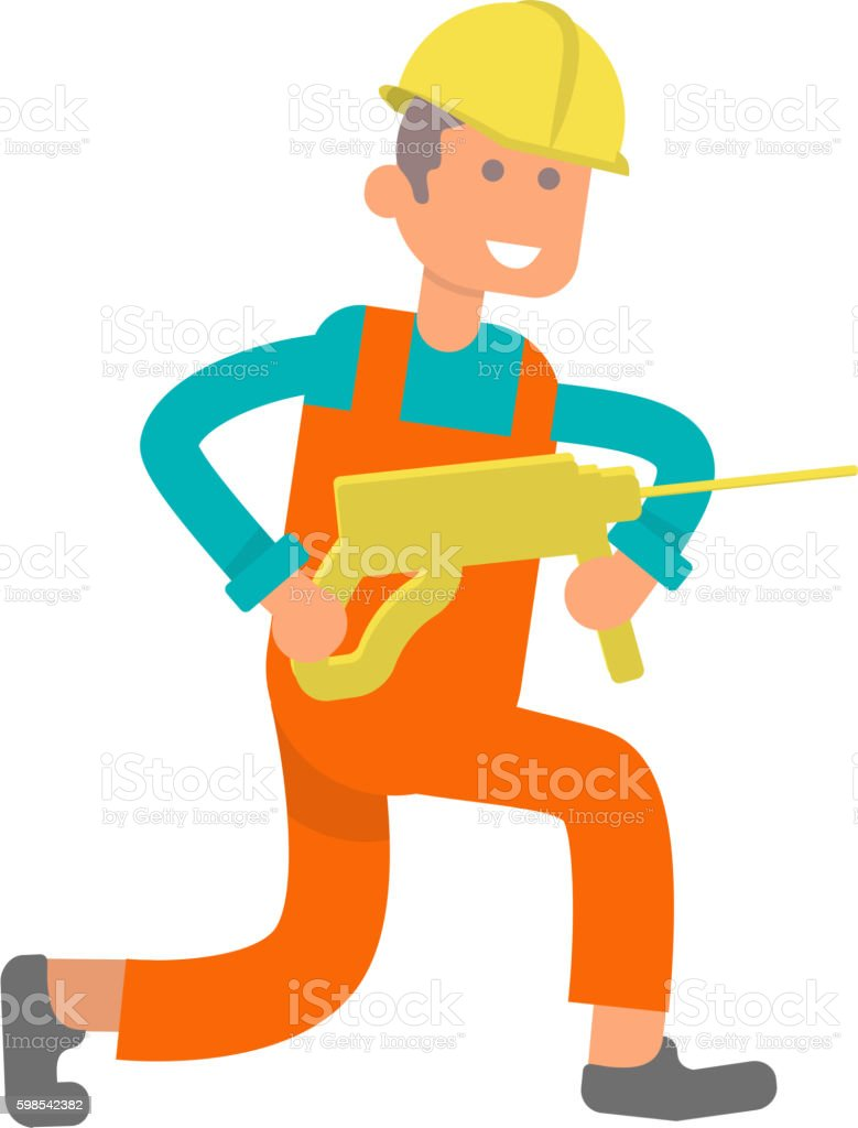 Character construction worker vector art illustration