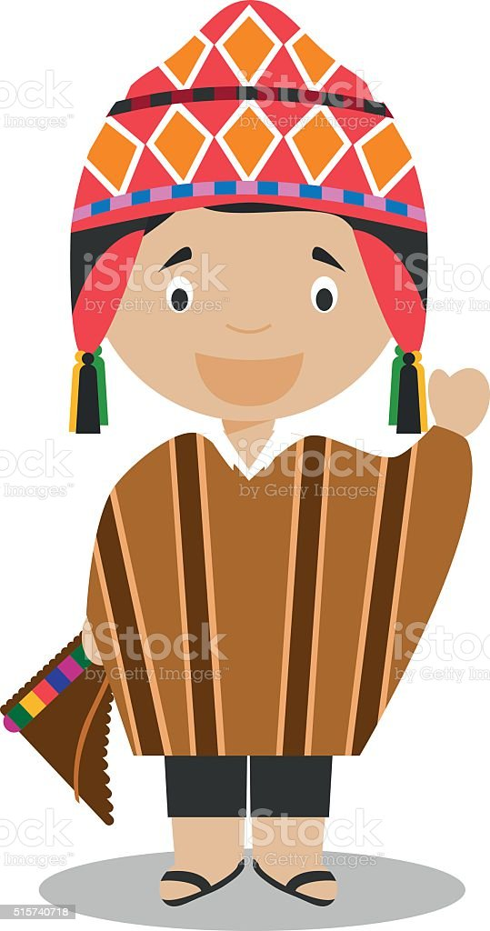 Character from Peru dressed in the traditional way Vector Illustration. vector art illustration