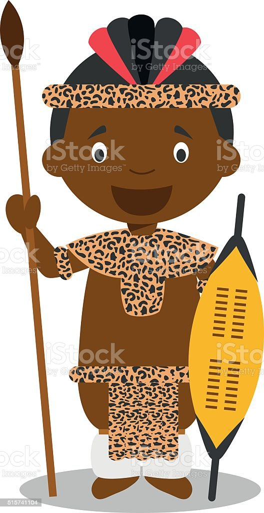 Character from South Africa. Zulu boy dressed in traditional way vector art illustration
