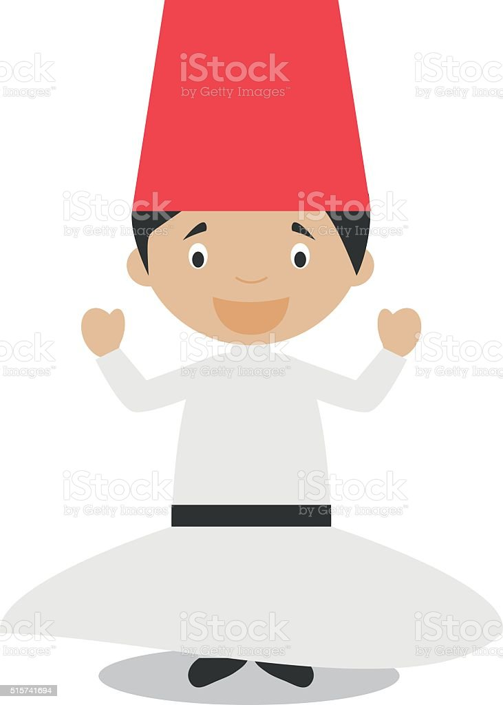 Character from Turkey. Whirling Dervishes dressed in the traditional way vector art illustration