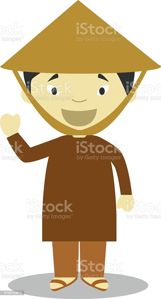 Character from Vietnam dressed in the traditional way Vector Illustration. vector art illustration