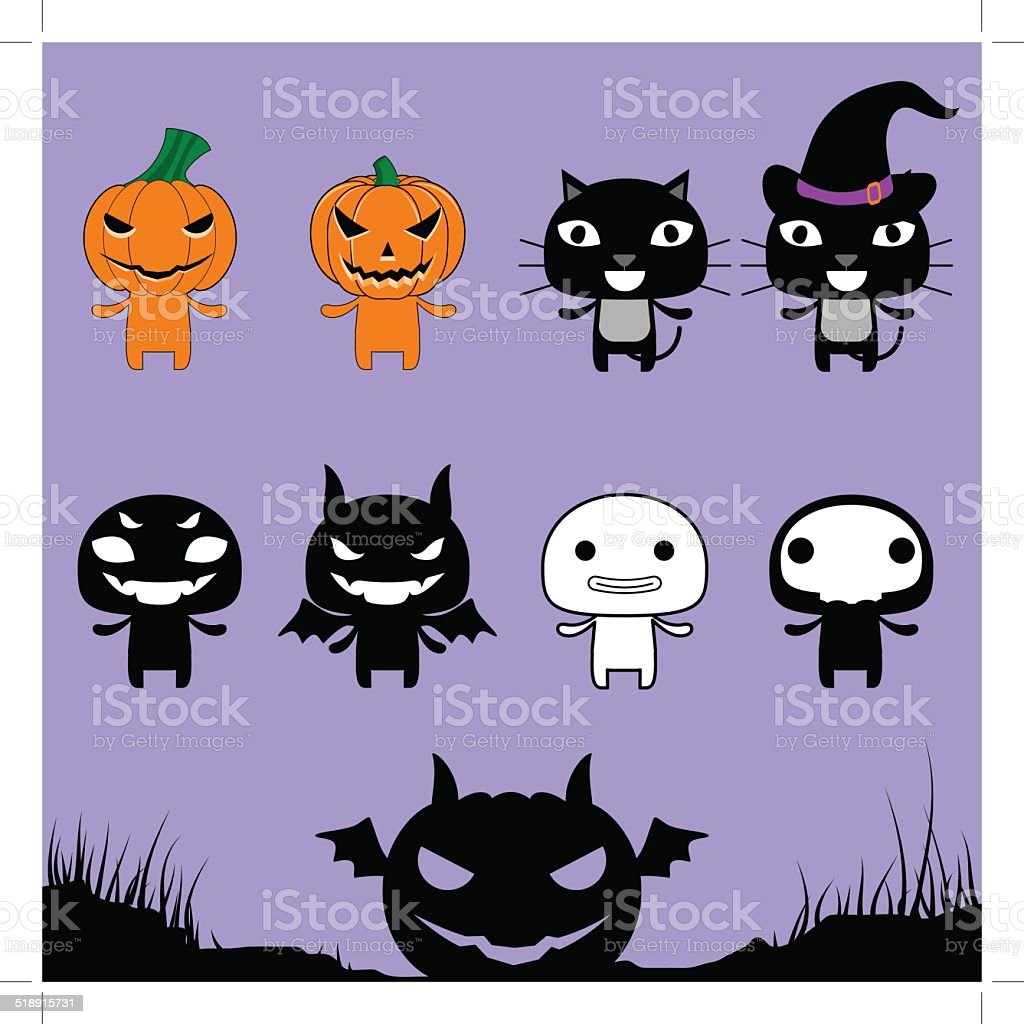 Character Halloween on Laver Background royalty-free stock vector art
