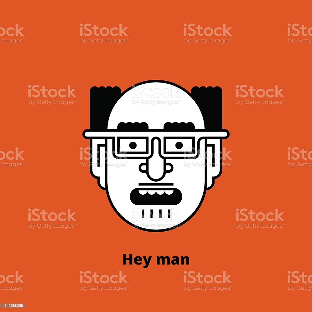 Character - mad bald man. Thin lines. Vector. vector art illustration