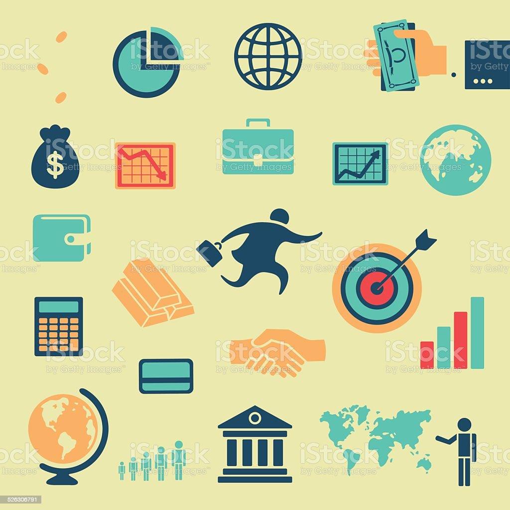Character set of business vector art illustration