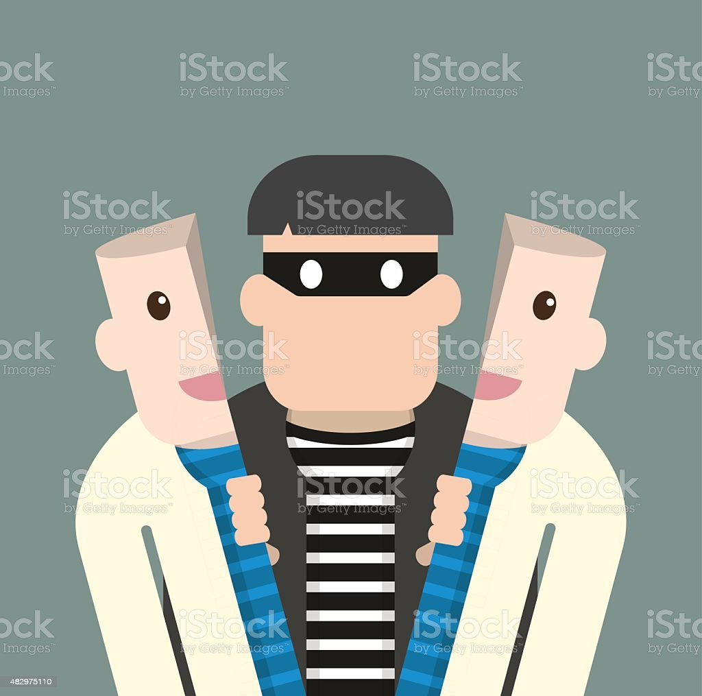 Character thief in good person vector art illustration
