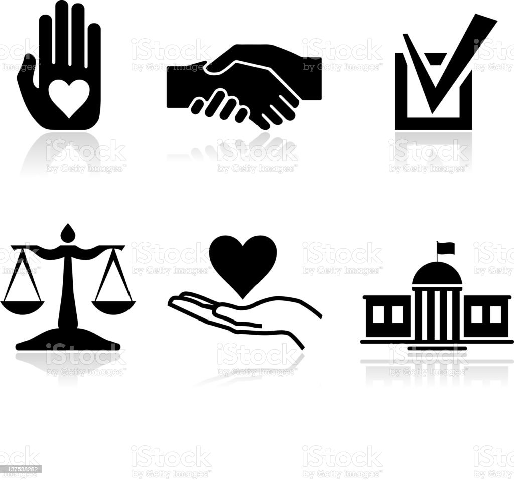 Character traits black & white royalty free vector icon set vector art illustration