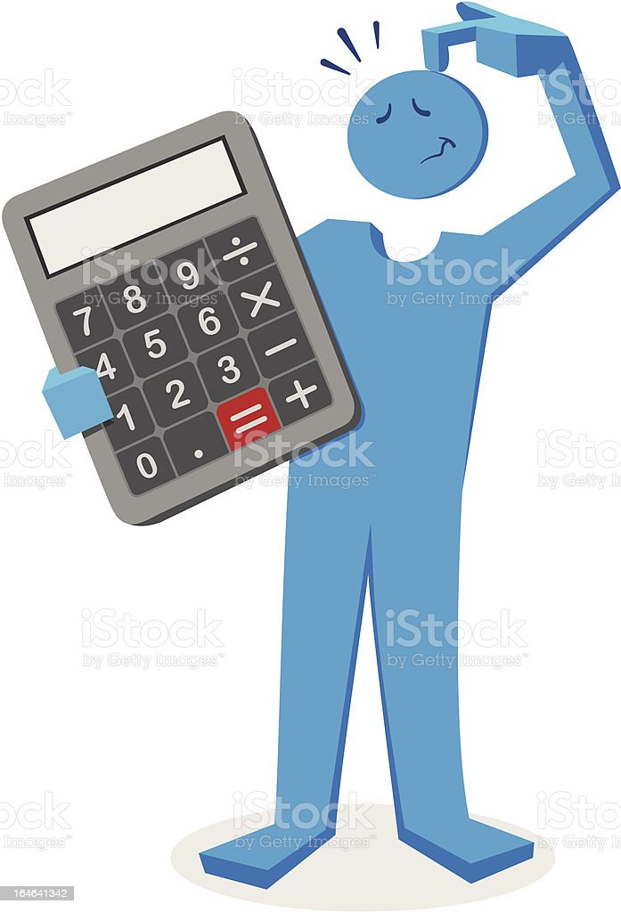 Character with Calculator royalty-free stock vector art