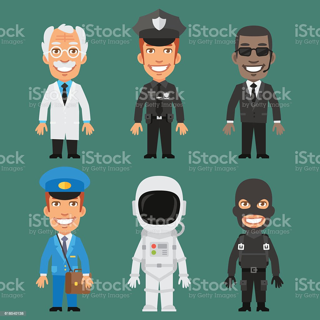Vector Illustration, Characters Scientist, Police, Guard