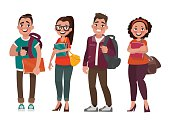 Characters of students on a white background. Vector
