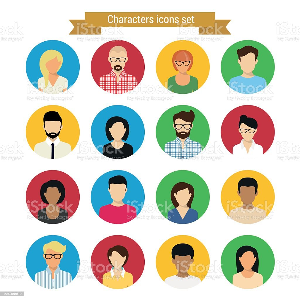 Characters set vector art illustration