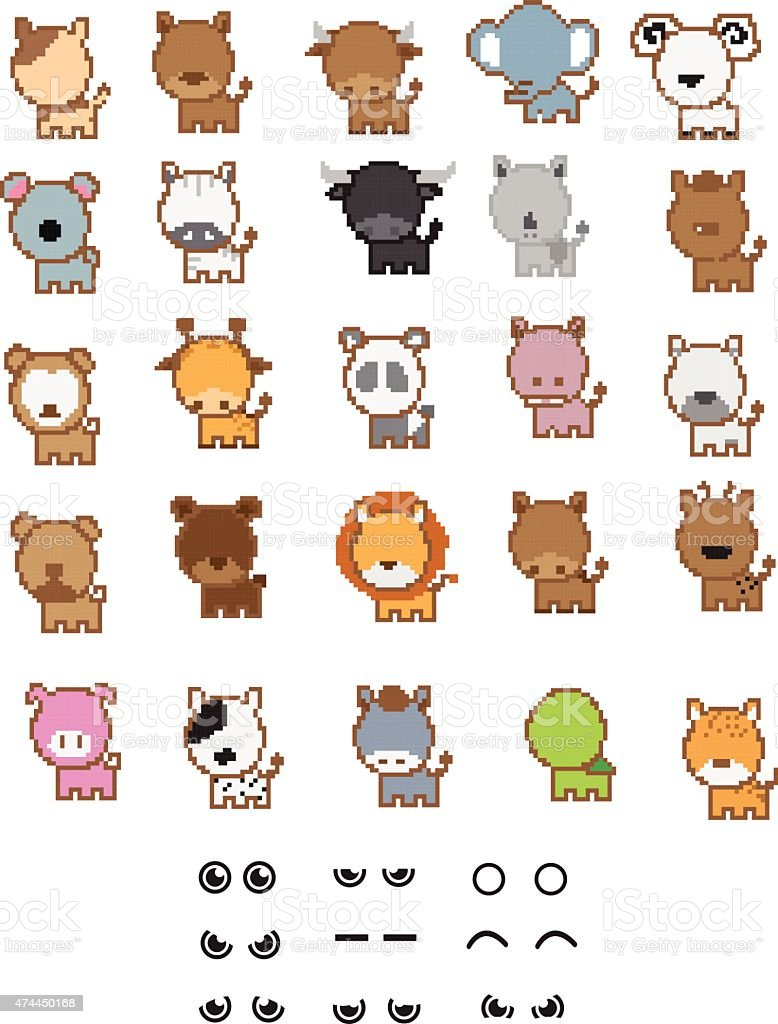 Characters-Animal-Pixel-Set vector art illustration