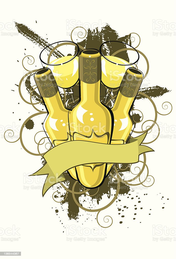 Chardonnay grunge banner vector art illustration