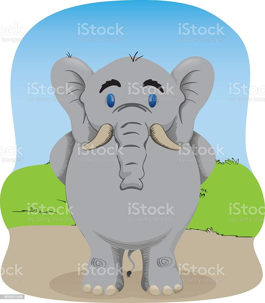 Charge Illustrated representing an elephant standing waiting vector art illustration