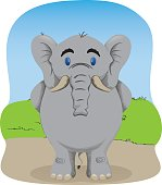 Charge Illustrated representing an elephant standing waiting