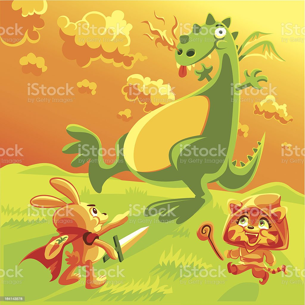 Charge the Dragon royalty-free stock vector art
