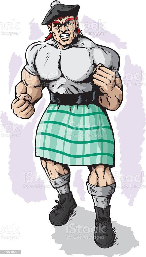 Charged Scotsman vector art illustration