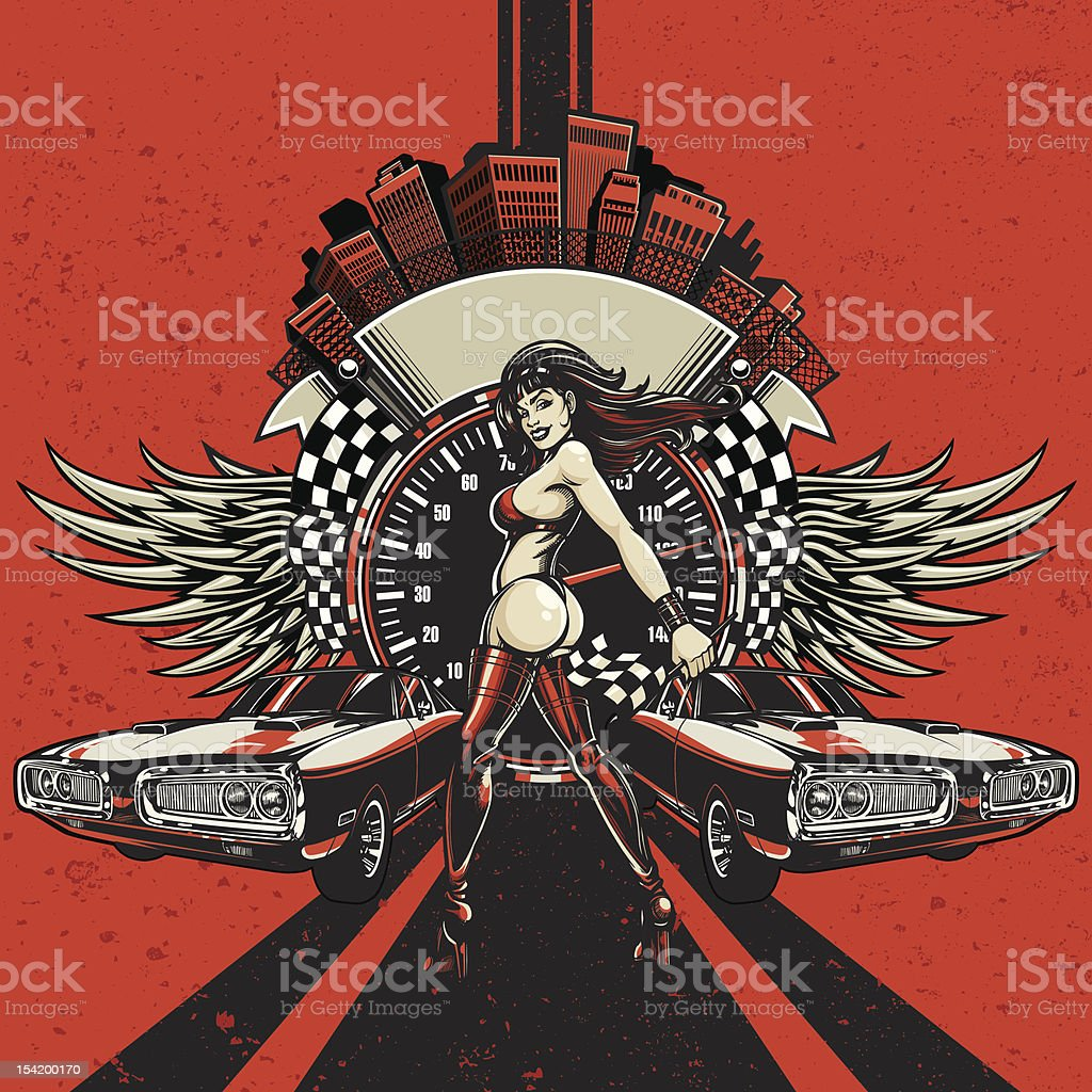 Charger Racing Design: Close Finish - Rockabilly Color Scheme vector art illustration