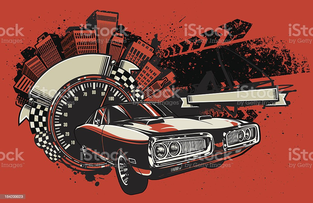 Charger Racing Design vector art illustration