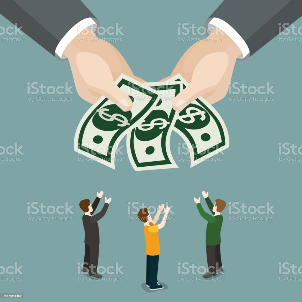 Charity alms welfare beneficence salary wages business isometry concept flat 3d isometry isometric web infographics vector illustration. Big hands money micro businessmen. Creative people collection. vector art illustration