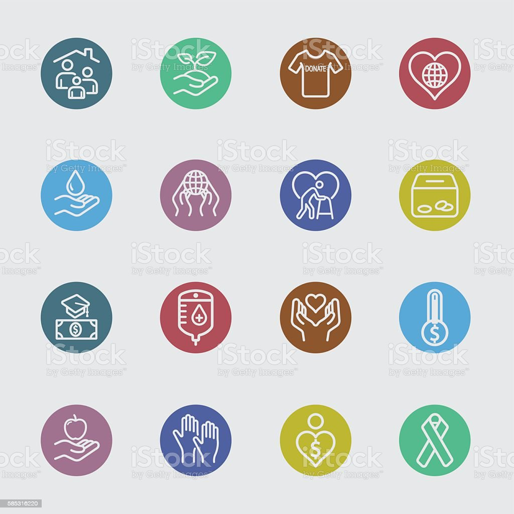 Charity and Donate 2 color circles line icon vector art illustration