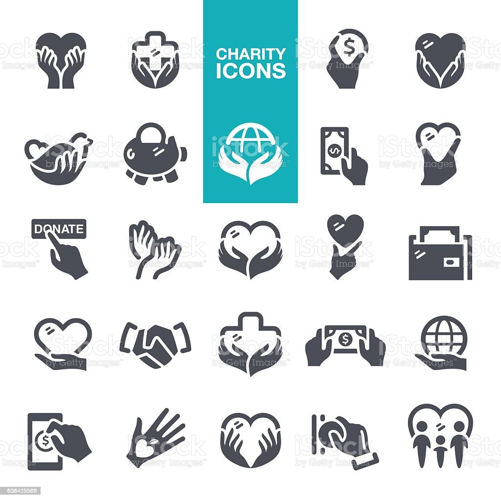 Charity and Donate Icons vector art illustration