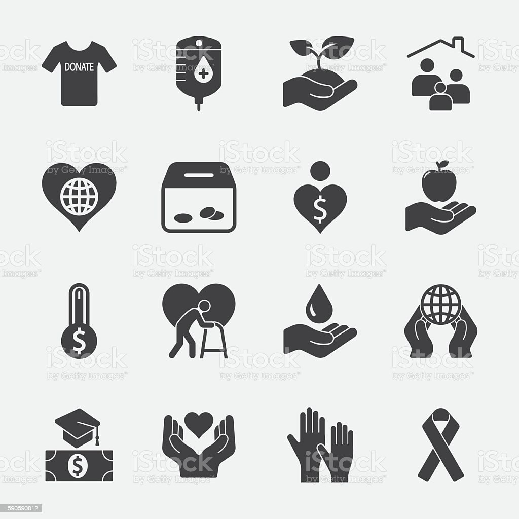 Charity and Donate vector icon 2 vector art illustration