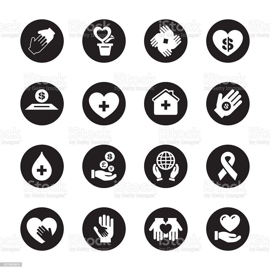 Charity and Donation - Black Circle Series vector art illustration