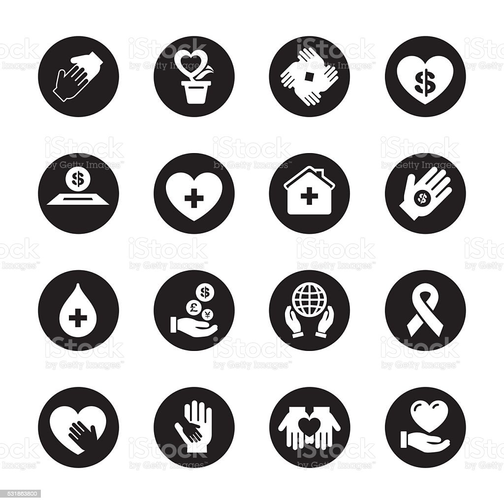 Charity and Donation - Black Circle Series vector art illustration