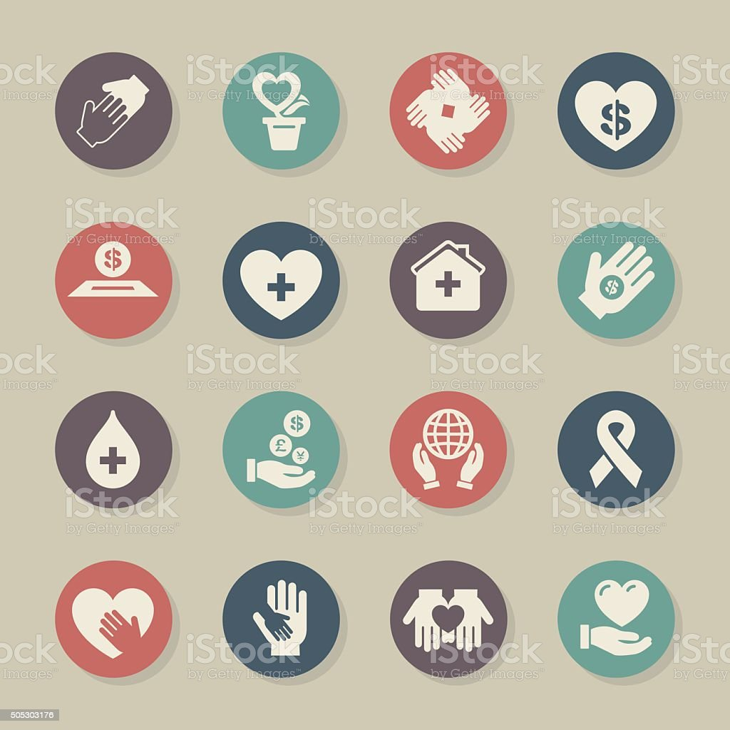 Charity and Donation - Color Circle Series vector art illustration