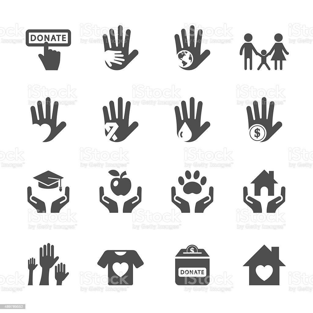 charity and donation icon set, vector eps10 vector art illustration