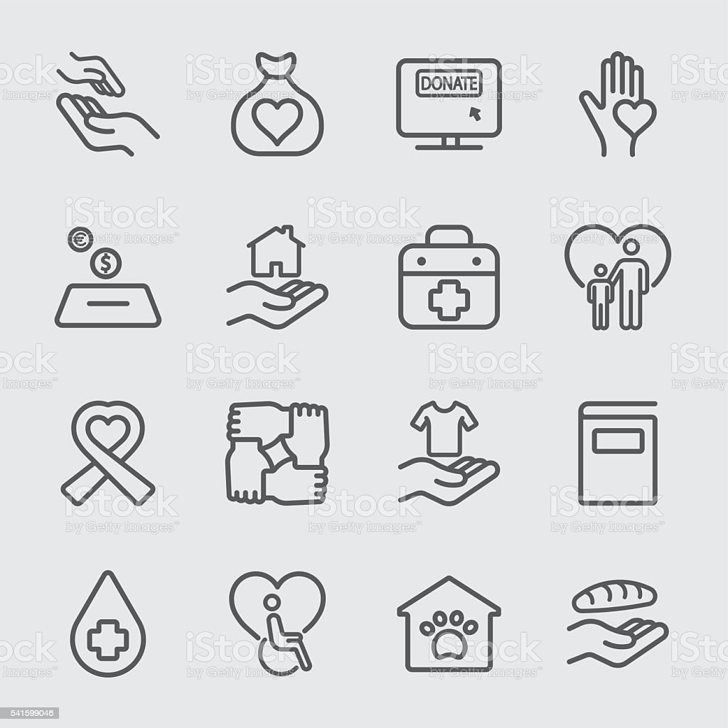 Charity and Donation line icon 1 vector art illustration
