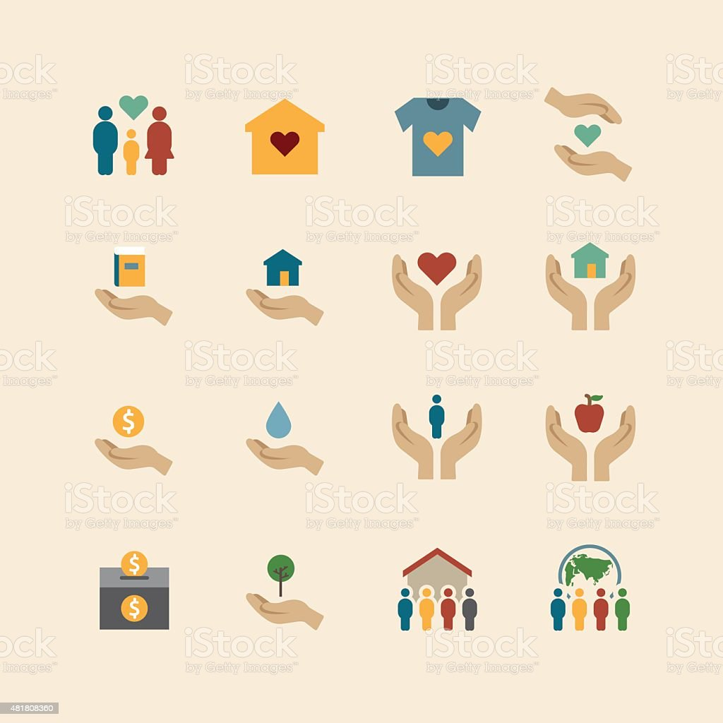 charity and donation silhouette colour icons flat design vector art illustration