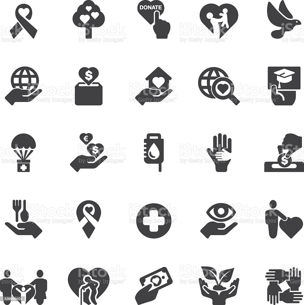 Charity and donation Silhouette icons | EPS10 stock photo