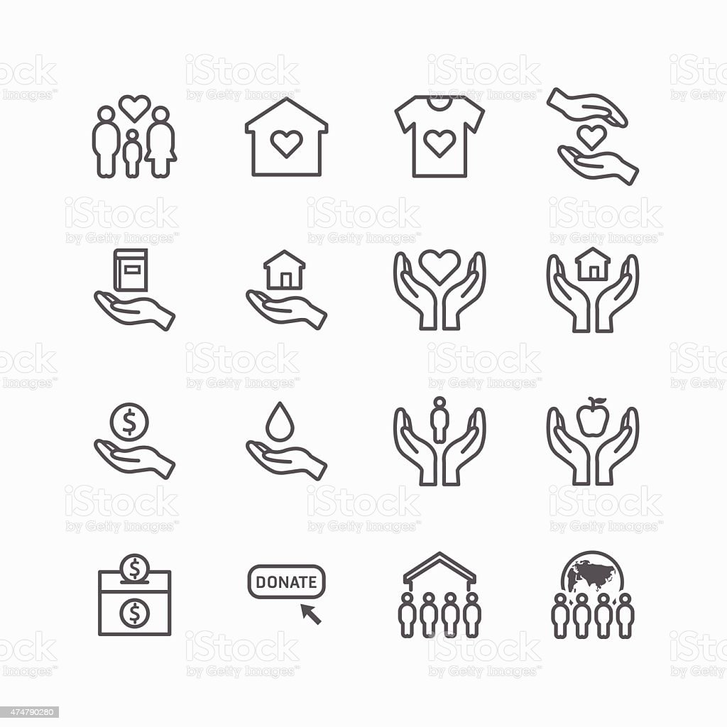 charity and donation silhouette icons flat line design vector royalty-free stock vector art