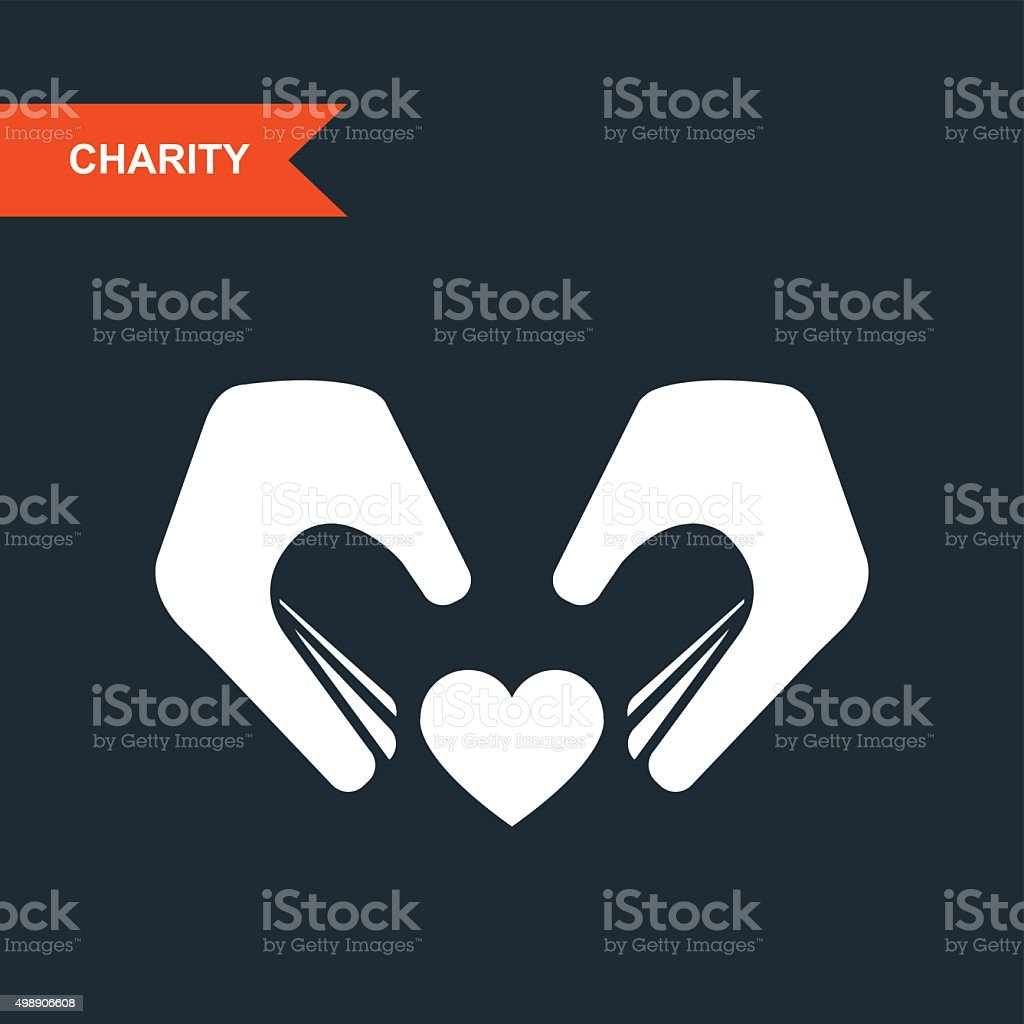 Charity and guardianship concept - hands with heart vector art illustration