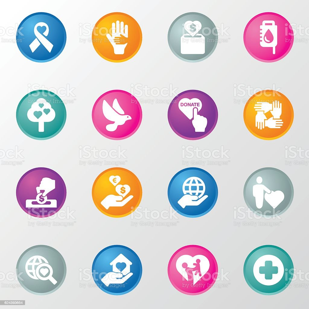 Charity and love Circle Color Icons vector art illustration