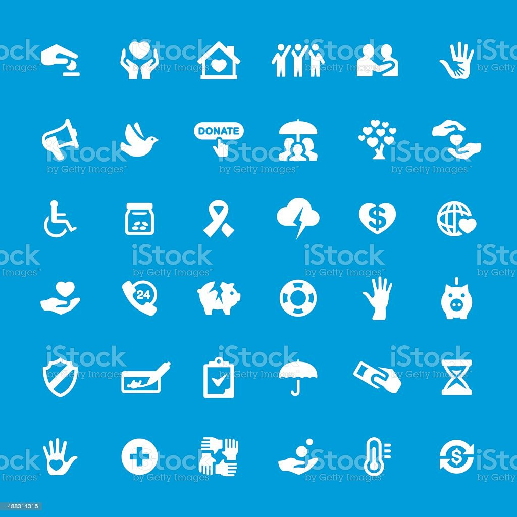 Charity and Relief vector icons set vector art illustration