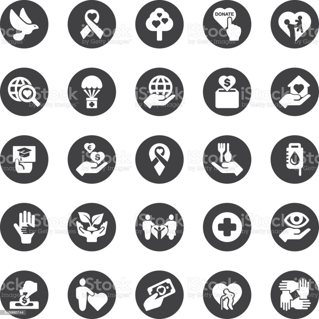 Charity and Relief Work Circle Silhouette icons | EPS10 stock photo