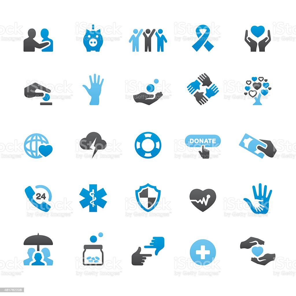 Charity and Relief Work related vector icons vector art illustration