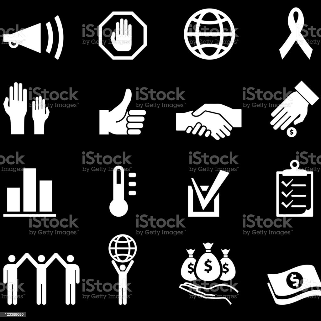 Charity and volunteer event royalty free vector icon set royalty-free stock vector art